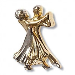 Brosche Tanzpaar goldfarbig